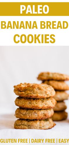 These easy vegan and paleo banana bread cookies are a delicious and healthy treat the whole family will enjoy. Their banana bread flavor is to die for! Banana Cookie Recipe, Banana Bread Cookies, Banana Dessert Recipes, Paleo Banana Bread, Banana Bread Recipes, Vegan Desserts, Cookie Recipes, Biscuits, Dairy Free Cookies