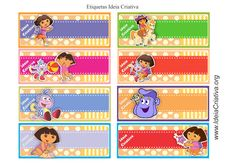Etiquetas Dora Aventureira para preencher e organizar material