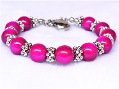 new-2013-China-fancey-Tibet-silver-hot-pink-Turquoise-beads-jewelry-bracelet