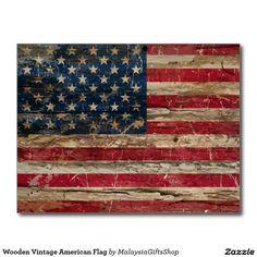 Wooden Vintage American Flag Postcard