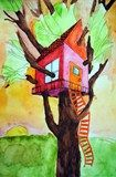 2-Point Linear Perspective Tree house - 5th grade