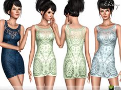 Embroidered Lace Dress by Ekinege - Sims 3 Downloads CC Caboodle