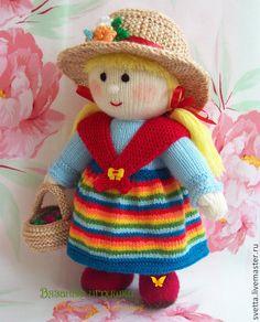 """Купить """"Девушка с лукошком ягод"""" вязаная кукла - кукла, вязаная кукла, интерьерная кукла ♡"""