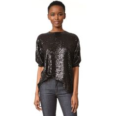 Victoria Victoria Beckham Sequin Tucked Sleeve Top (35,265 INR) ❤ liked on Polyvore featuring tops, beaded sequin tops, button top, short sleeve tops, shirred top and sequin top