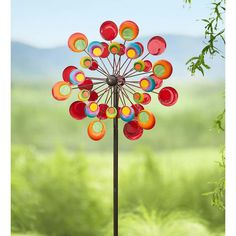 Outdoor Cosmic Multi-Colored Metal and Glass Garden Wind Spinner Sculpture 24 dia. x 10 D x 75 H > Metal wind spinner Multicolored metal discs with glass inserts Spins in the breeze for a great show Glass Garden Art, Metal Garden Art, Colorful Bubbles, Garden Wind Spinners, Wind Sculptures, Sculpture Ideas, Diy Wind Chimes, Stained Glass Art, Yard Art