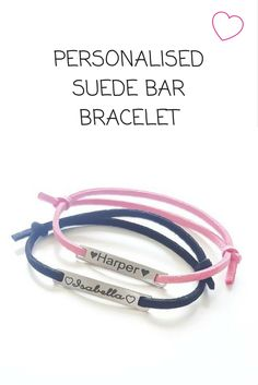 Our beautiful personalised suede bar bracelets are the perfect gift with a special personal touch! #keepsake #handmade #babygifts #boutique #bracelet