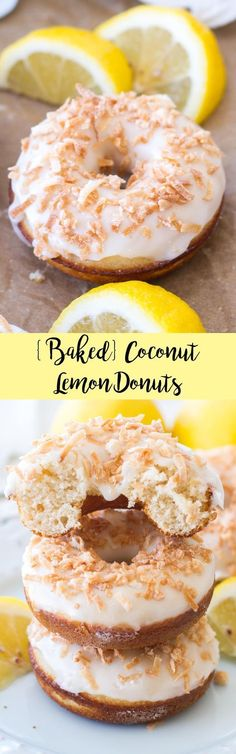 These lemon donuts are baked in the oven and topped with a lemon glaze and toasted coconut for a sweet breakfast treat!