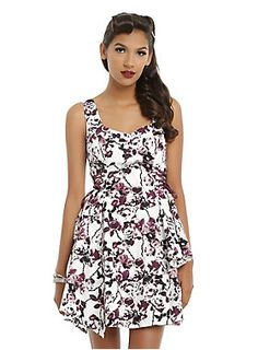 White & Burgundy Floral Side Lace-Up Asymmetrical Dress |Hot Topic