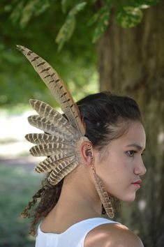 Feather Copper Ear Cuff  Ear Wrap Winter Warrior White /& Gold Feather Earcuff Tribal Valkyrie Costume EarWings Valkyrie  Festival