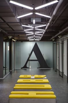 Nika Vorotyntseva design & architecture bureau has developed the new offices of coworking facility HUB located in Kiev, Ukraine. HUB - new, Gym Interior, Lobby Interior, Interior And Exterior, Gym Design, Loft Design, Modern Design, Design Ideas, Commercial Interior Design, Commercial Interiors