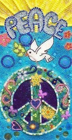Mosaic Dove with Peace Sign. Completed in micro mosaics, seed beads, glass, and other various tesserae. Measures 9 x 17 on MDF Hippie Peace, Happy Hippie, Hippie Love, Hippie Things, Yoga Studio Design, Peace On Earth, World Peace, Peace Love Happiness, Peace And Love