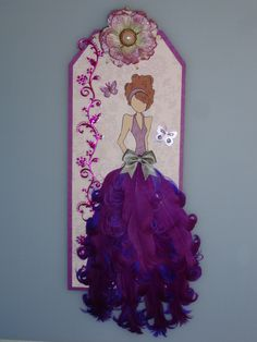 Purple feather prima doll tag - butterfly
