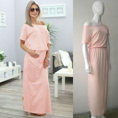 Hot Sale Cotton Elastic Waist Summer Women Ladies Loose Long Maxi Dress Black…