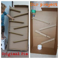 Marble Run w/cardboard box and paper towel tubes. This one needed some modifications to make sure the marbles flowed from one to the next. You have to be careful not to space them too far apart or the marbles will bounce right out