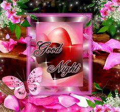 Buena noche de la mariposa y pétalos de rosa