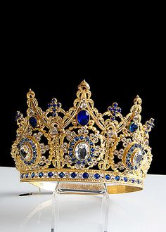 19th Century Gilt Brass Repousse Tiara with Blue and Clear Facet Cut Glass Jewels