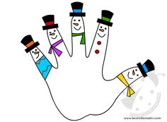 Allegri e colorati pupazzi di neve da disegnare e colorare sulla sagoma di una mano impressa su un foglio di carta a fondo bianco. Pupazzi di neve Lavorett