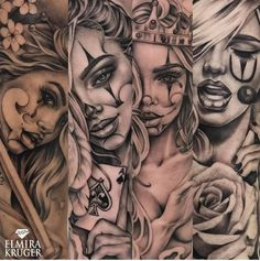 My queens The point is not to fill any woman – Tattoos Gangster Tattoos, Dope Tattoos, Badass Tattoos, Skull Tattoos, Leg Tattoos, Body Art Tattoos, Girl Tattoos, Tattoos For Guys, Tattoos For Women