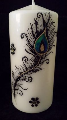 Handpainted  henna candles with Peacock by ArtbyMeena on Etsy