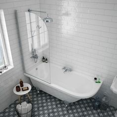 Appleby 1700 Roll Top Shower Bath with Screen + Chrome Leg Set A clawfoot tub like this would be a great option to get something deeper in a small space Shower Over Bath, Shower Tub, Freestanding Tub With Shower, Bath Shower Screens, Bathtub Shower Combo, Shower Door, Shower Curtains, Bad Inspiration, Bathroom Inspiration