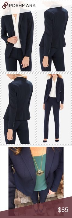 🍰30% OFF BUNDLES🍰 Birthday Bash! classic navy blue blazer coat with unlimited styling potential. Weather paired with denim on the weekends or as your favorite work pants or skirt, you always look polished and refined. The LIMITED consistently uses the same shades and fabrics for all of their suiting pieces for easy mixing/ matching. Beautiful fitted style with pleated waist, front slit pockets, button closure front and button details on cuffs see last pic. Size 0 fits as a true size small…