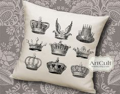 BW CROWNS - Printable Digital Sheets Iron-On-Transfer Images for tote bags t-shirts pillows, to print on fabric and paper