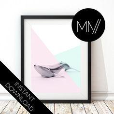 INSTANT DOWNLOAD Modern Nursery Print whale nursery by ModMenage