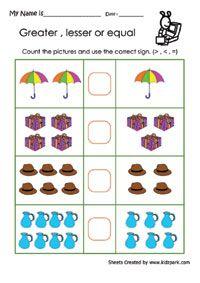 More Than Less Than Worksheet, Printable Math Sheets,Grade 1 Maths Worksheets Kindergarten Addition Worksheets, 4th Grade Math Worksheets, Free Printable Math Worksheets, Kindergarten Math Worksheets, 1st Grade Math, Preschool Math, Grade 1, Emotions Preschool, Math Sheets