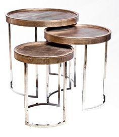 Mesa lateral em couro e inox - Emporio Beraldin