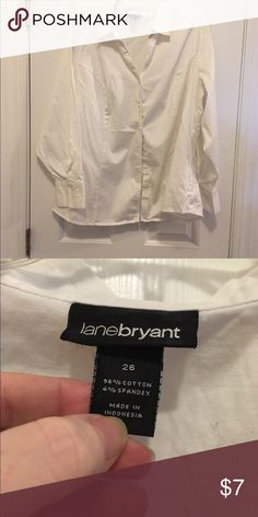 Classic lane bryant plus size button down shirt White size 26 lane bryant button down, great condition and gently used. Lane Bryant Tops Button Down Shirts