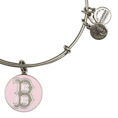 Alex and Ani Boston Red Sox Cap Logo Pink Expandable Wire Bangle Russian Silver