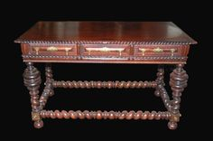 Indo Portuguese, rosewood mahogany desk or entry table, 55 x 29 x 34H