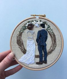I've LOVED stitching this commission 🌿 she even has hair 💙 Floral Embroidery Patterns, Embroidery Hoop Art, Ribbon Embroidery, Cross Stitch Embroidery, Embroidery Designs, Wedding Embroidery, Brazilian Embroidery, Learning To Embroider, Couture