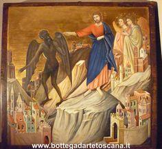 ICONA. TENTAZIONE DI CRISTO SUL MONTE Dipinto realizzato da Silvia Salvadori. Painting by © Silvia Salvadori. Icona di Cristo, Riproduzione d'arte da