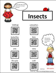 """Great for centers and early finishers! IPad/iPod/tablet activities! Student tested and they love it! Students love scanning and learning with QR codes! Buy this in our """"Animals Bundle using QR Codes"""" and get it for 50% off! Pre k - 2nd $ EXPLORING INSECTS WITH QR CODES - TeachersPayTeachers.com"""