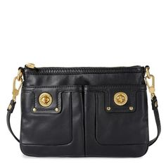 Marc Jacobs Black Leather Crossbody Bag For sale is this super cute Marc Jacobs Crossbody back. It features black leather, gold hardware, a detachable strap (it can also be used as a clutch or large wallet or cosmetic/jewelry bag!), and the signature MJ black and white cloth interior. Feel free to ask any questions and Happy Shopping! Marc by Marc Jacobs Bags Crossbody Bags
