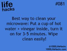 1000 Life Hacks Pretty cool :) #cleaningmymicrowave