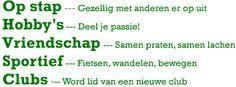 50plusnet.nl Daar ontmoet je mensen mee. Gratis ontmoetingsplek voor mensen die een hobby willen delen of iemand zoeken om samen op stap te gaan.