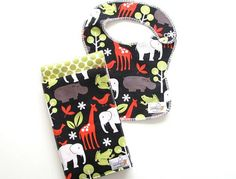 NEW  Zoology Black and Amy Butler Gift Set by ZerbertBaby on Etsy, $25.00