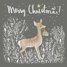 New Diy Christmas Cards Drawing Happy Holidays Ideas Christmas Deer, Merry Little Christmas, Vintage Christmas Cards, Christmas Pictures, Christmas Greetings, Winter Christmas, Illustration Noel, Christmas Cards Illustration, Diy Weihnachten