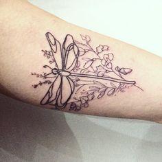 Dragonfly tattoo. Flowers tattoo. Line work. by Ana Maturana