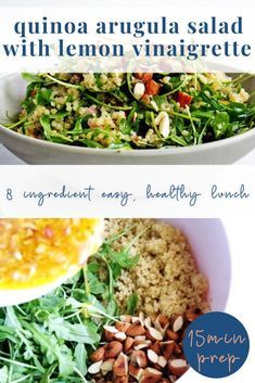 This quinoa arugula salad recipe is bright, fresh and flavorful - perfect to make ahead for lunches or picnics! Healthy Family Meals, Family Recipes, Healthy Dinner Recipes, Arugula Salad Recipes, Lemon Vinaigrette, Make Ahead Lunches, Lunchbox Ideas, Picnics, Quinoa