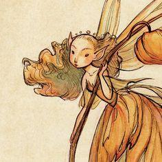Midsummer Fairies Lantern 13x19 Art Print by CaseyRobinArt