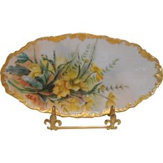 Very Lovely TV Limoges Tray; Hand Painted Plates, Genere, Old Tv, Fine Porcelain, Vintage Glassware, Very Lovely, Rococo, Decorative Bowls, Vanity