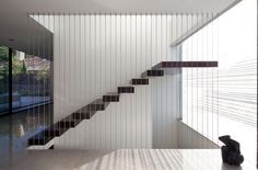 Check Out Modern Staircase Design For Your Home. Most modern staircase design is meticulously detailed, exposing all the working elements and eschewing trim, moldings, and other decoration. Railing Design, Stair Railing, Staircase Design, Stair Design, Staircase Ideas, Wall Design, Cable Railing, Railing Ideas, Fence Design