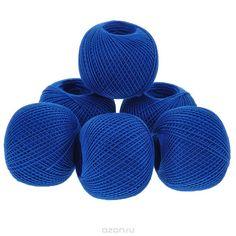 Нитки вязальные Ирис, хлопчатобумажные, цвет: синий (2714), 150 м, 25 г, 6 шт