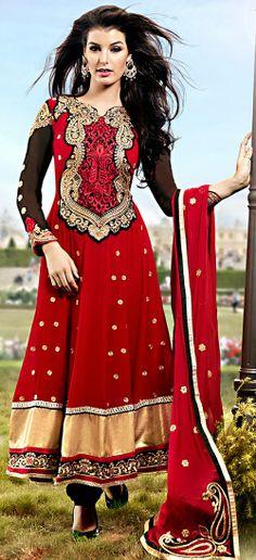 Buy Valentine Lovely Black & Red Salwar Kameez US$ 100.31  Shop at - valentine-gift-wardrobe.blogspot.co.uk/2014/02/buy-valentine-lovely-black-red-salwar.html