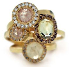Rough cut rose diamonds