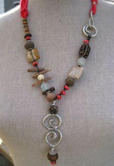 Moobie Grace  Ceramic Necklace  Rustic    by MoobieGraceDesigns, $40.00