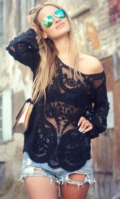 Stylish Scoop Collar Long Sleeve See-Through Solid Color Lace Women's Blouse